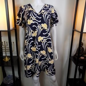 Ann Taylor Navy Blue with Yellow Floral dress